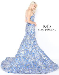 Style 66219 Mac Duggal Blue Size 6 Train Prom Mermaid Dress on Queenly