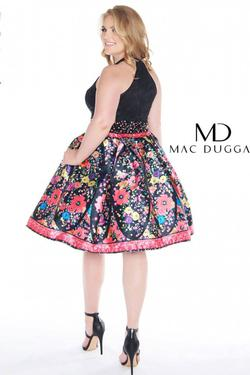Style 66385 Mac Duggal Black Size 16 Print Tall Height Floral Homecoming Cocktail Dress on Queenly