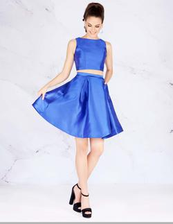 Style 66548 Mac Duggal Blue Size 2 Two Piece Interview Cocktail Dress on Queenly