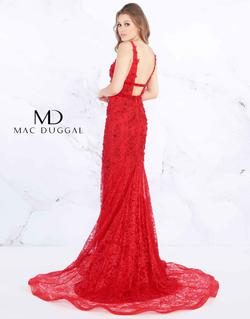 Style 66707 Mac Duggal Red Size 4 Lace Floral Mermaid Dress on Queenly