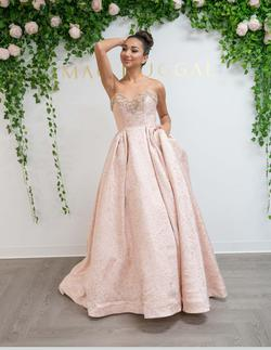 Style 66713 Mac Duggal Pink Size 14 Prom Strapless Ball gown on Queenly