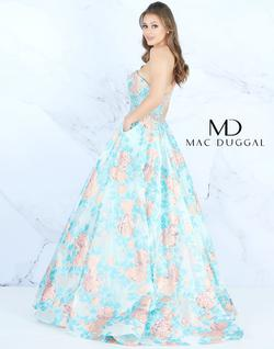 Style 66885 Mac Duggal Blue Size 12 Strapless Floral Ball gown on Queenly
