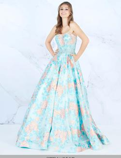 Style 66885 Mac Duggal Blue Size 14 Gold Prom Ball gown on Queenly