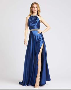 Style 67339 Mac Duggal Blue Size 6 High Neck Tall Height Side slit Dress on Queenly