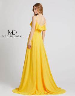 Style 67344 Mac Duggal Yellow Size 14 Belt Tall Height Side slit Dress on Queenly