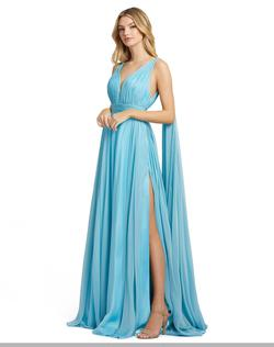 Style 67391 Mac Duggal Blue Size 12 Cape Pageant Side slit Dress on Queenly