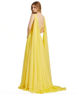 Style 67391 Mac Duggal Yellow Size 12 Prom Cape Pageant Side slit Dress on Queenly