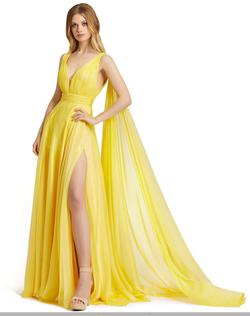 Style 67391 Mac Duggal Yellow Size 16 Pageant Side slit Dress on Queenly