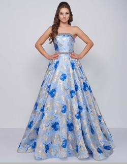 Style 67602 Mac Duggal Blue Size 14 Multicolor Belt Tall Height Ball gown on Queenly