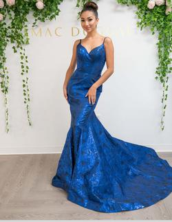 Queenly size 10 Mac Duggal Blue Mermaid evening gown/formal dress