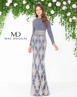 Style 77215 Mac Duggal SIlver Size 10 Tall Height Straight Dress on Queenly