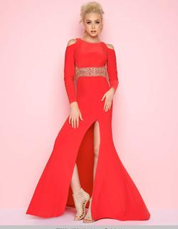 Style 77238 Mac Duggal Red Size 2 Prom Pageant Side slit Dress on Queenly