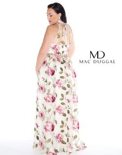 Style 77354 Mac Duggal White Size 16 Halter Floral A-line Dress on Queenly