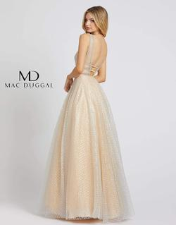 Style 77402 Mac Duggal Gold Size 10 Sheer Tall Height V Neck A-line Dress on Queenly