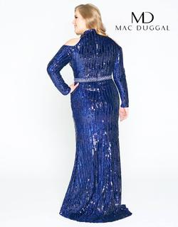 Style 77468 Mac Duggal Blue Size 14 Sleeves Pageant Straight Dress on Queenly