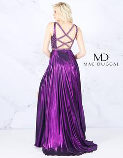 Style 77493 Mac Duggal Purple Size 12 Train Jewelled Pageant Side slit Dress on Queenly