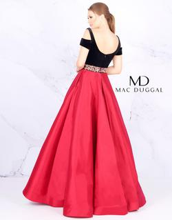 Style 77506 Mac Duggal Red Size 16 Velvet Black Pageant Ball gown on Queenly