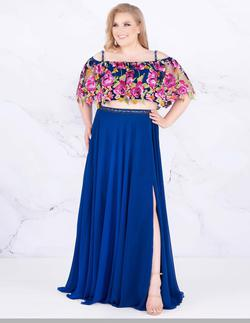 Style 77521 Mac Duggal Blue Size 14 Prom Side slit Dress on Queenly