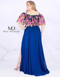 Style 77521 Mac Duggal Blue Size 16 Two Piece Floral Side slit Dress on Queenly