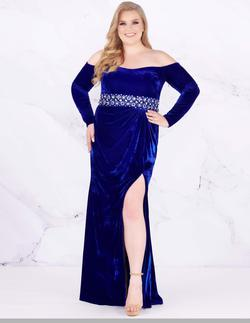 Style 77533 Mac Duggal Blue Size 16 Sleeves Silver Pageant Side slit Dress on Queenly