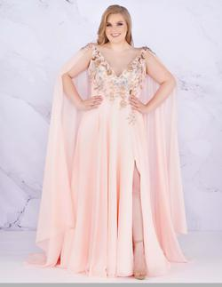 Style 77551 Mac Duggal Pink Size 14 Prom Cape Pageant Side slit Dress on Queenly