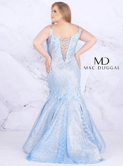 Style 77557 Mac Duggal Blue Size 22 Lace Tall Height Mermaid Dress on Queenly