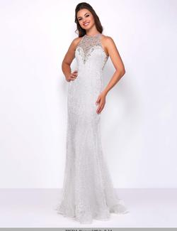 Style 77571 Mac Duggal White Size 4 Halter Backless Pageant Straight Dress on Queenly