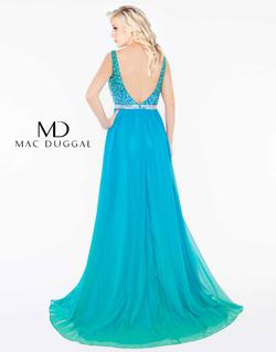 Style 77587 Mac Duggal Blue Size 2 Multicolor A-line Pageant Side slit Dress on Queenly