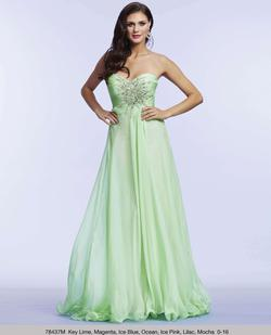 Queenly size 0 Mac Duggal Green A-line evening gown/formal dress