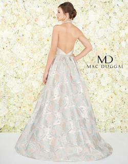 Style 79204 Mac Duggal Gold Size 4 Halter Floral Pageant A-line Dress on Queenly