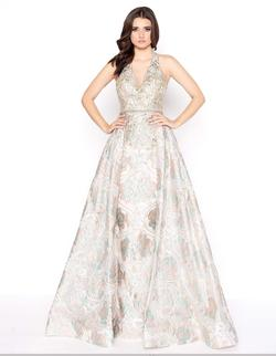 Style 79204 Mac Duggal Gold Size 12 Halter Floral A-line Dress on Queenly
