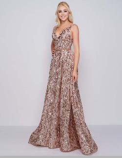 Style 79233 Mac Duggal Gold Size 4 Train Tall Height Sequin V Neck A-line Dress on Queenly