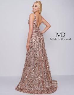 Style 79233 Mac Duggal Gold Size 14 Tall Height Sequin V Neck A-line Dress on Queenly