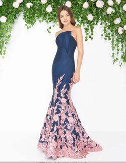 Style 80761 Mac Duggal Blue Size 8 Strapless Floral Mermaid Dress on Queenly