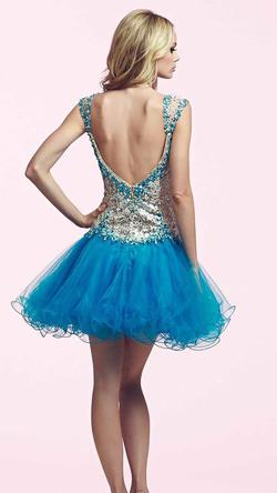 Style 82095 Mac Duggal Blue Size 6 Sweetheart Fun Fashion Homecoming Cocktail Dress on Queenly