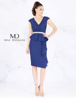 Style 85523 Mac Duggal Blue Size 8 Wedding Guest V Neck Navy Cocktail Dress on Queenly