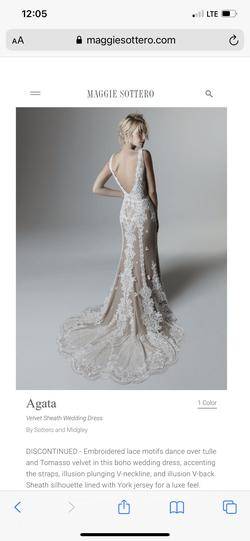 Sottero & Midgley White Size 4 Backless V Neck Plunge Straight Train Dress on Queenly