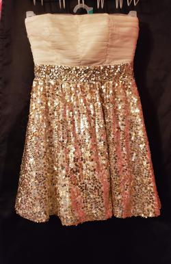 Queenly size 4 Sequin Heart Gold Cocktail evening gown/formal dress