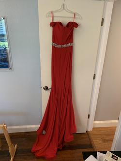 Jovani Red Size 2 Pageant Train Mermaid Dress on Queenly