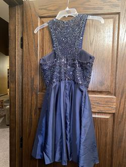 Sherri Hill Blue Size 4 Jewelled Halter Cocktail Dress on Queenly
