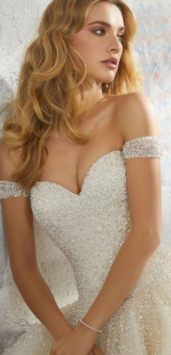 Mori Lee White Size 14 Train Ball gown on Queenly