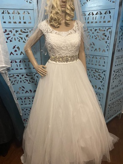 Queenly size 12  White Train evening gown/formal dress