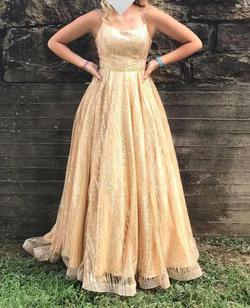 Tiffany Designs Gold Size 8 Prom Backless Ball gown on Queenly