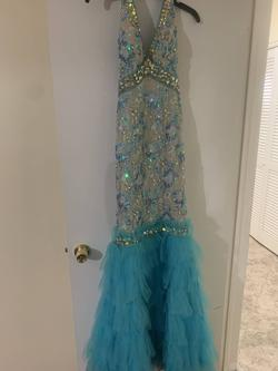 Queenly size 0 Johnathan Kayne Blue Mermaid evening gown/formal dress