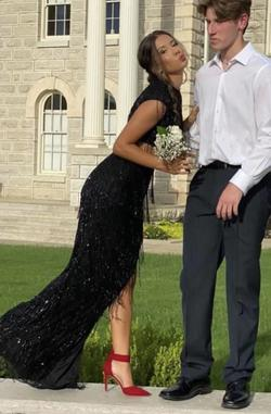 Queenly size 0  Black Straight evening gown/formal dress