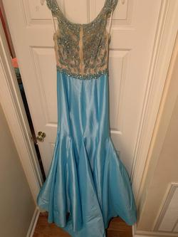 Mac Duggal Blue Size 4 Pageant Mermaid Dress on Queenly