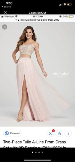 Ellie Wilde Light Pink Size 6 Side Slit Ball gown on Queenly