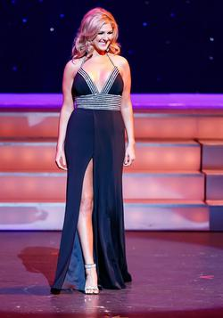 Style 52905 Sherri Hill Black Size 8 Pageant Halter Side slit Dress on Queenly
