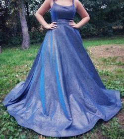 Style 52457 Sherri Hill Blue Size 10 Prom Ball gown on Queenly