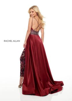 Style 7061 Rachel Allan Red Size 4 Sequin Jumpsuit Dress on Queenly